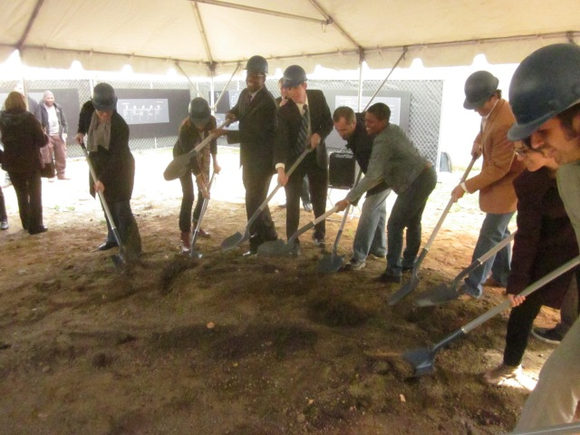 Ceremonial digging at groundbreaking of Folsom Powerhouse
