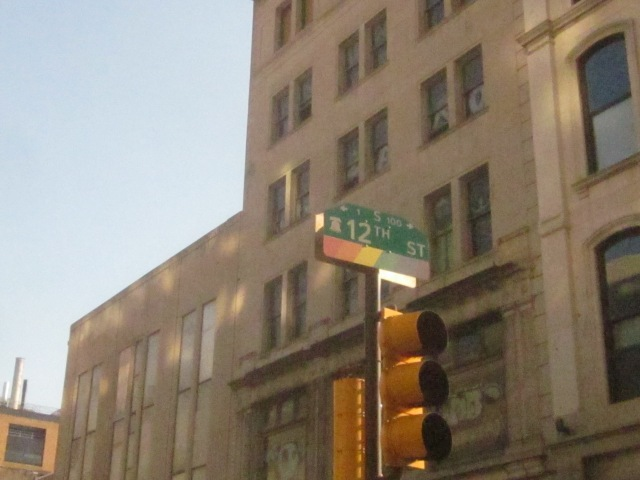 Street sign for 12th Street, in front of 1118 Chestnut Street