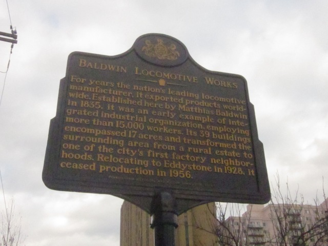 Sign, on 19th Street, explains the history of the Baldwin Locomotive Works