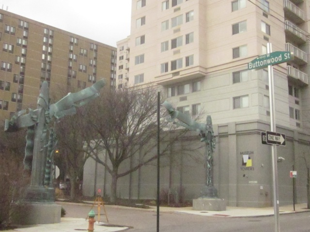 Entrance to Museum Towers parking lot, where Buttonwood Street would be