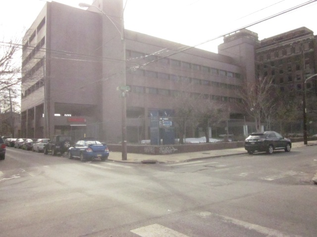 Mt. Sinai Hospital building, and parking lot, at Fourth and Reed Streets