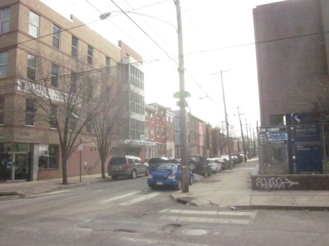 Looking south down Fourth Street, across the street from Mt. Sinai Hospital