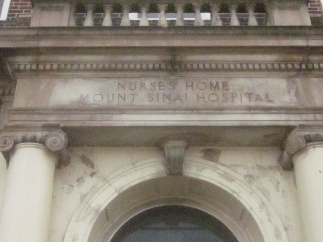 Sign above the entrance of the former Mt. Sinai Nurse's Home