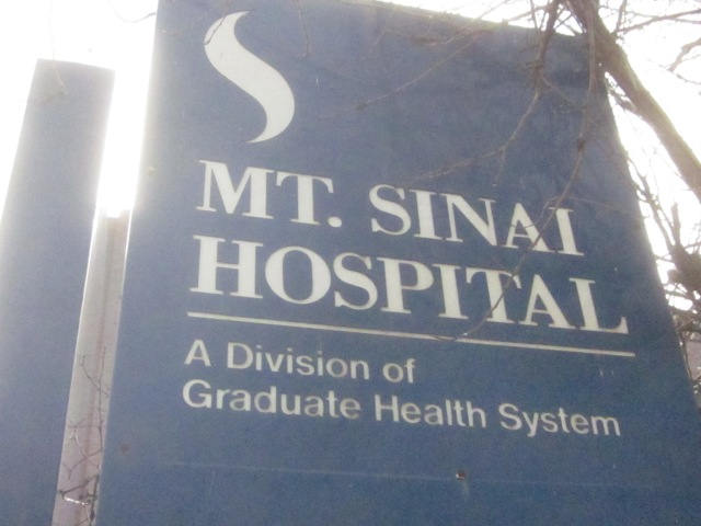 Sign of former Mt. Sinai Hospital, at Fourth and Reed Streets