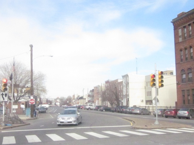 Looking north up Moyamensing Avenue, through Queen Village to South Street