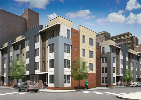 Rendering of modern townhouses at Fourth and Reed Streets