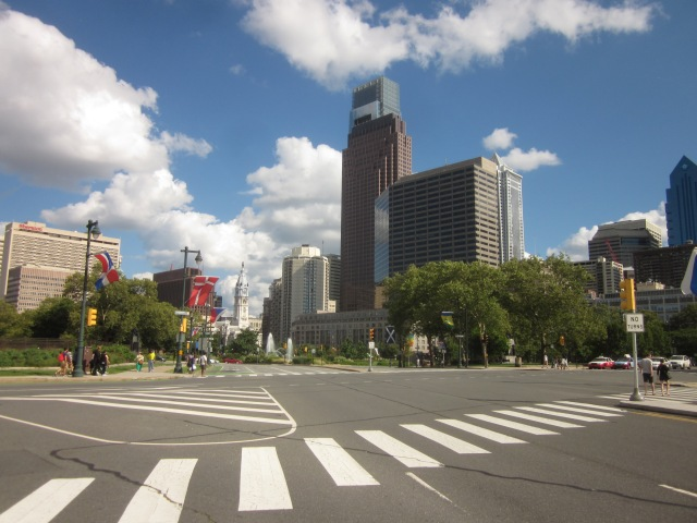 Looking up the Parkway towards Logan Circle and City Hall, with the Comcast Center and the site of the future Comcast Innovation and Technology Center in the background