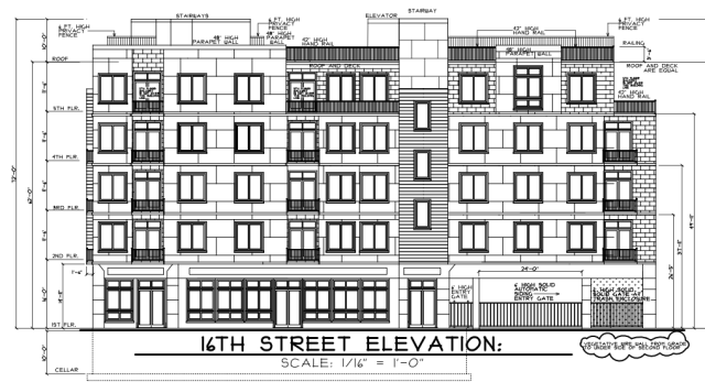 Elevation rendering of 1601 Washington Avenue showing the 16th Street side and more retail space