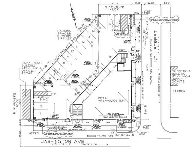 Site diagram of 1601 Washington Avenue apartments shows retail and parking on the ground level