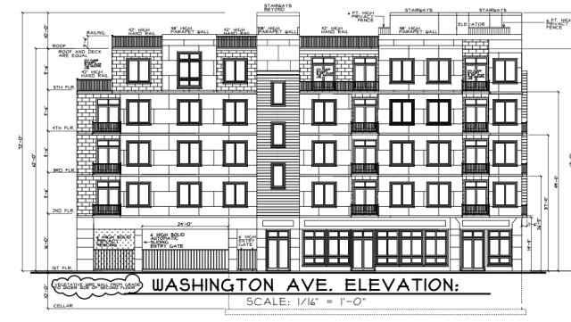 Elevation rendering of 1601 Washington Avenue, showing Washington Avenue side and retail