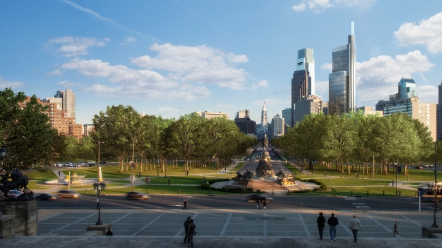 Rendering of the Comcast Innovation and Technology Center, as seen from the steps of the Philadelphia Museum of Art at the end of the Ben Franklin Parkway