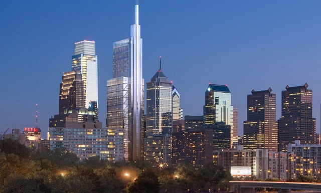 Rendering of the Comcast Innovation and Technology Center, as seen from the Spring Garden Street Bridge over the Schuylkill River