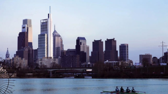 Rendering of the Comcast Innovation and Technology Center, as seen from the Schuylkill River