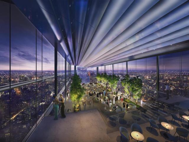 Rendering of the observation deck and Four Seasons hotel lobby of the Comcast Innovation and Technology Center