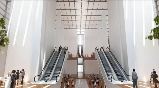 Rendering of the 18th Street lobby of the CITC, including office portion entrance and the underground concourse