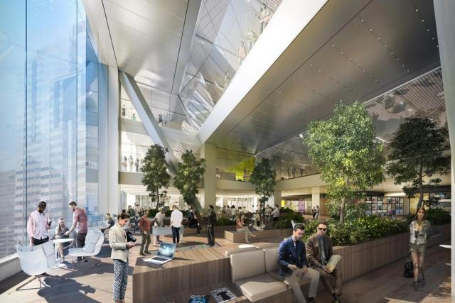 "Rendering of an atrium in one of the ""sky garden"" work zones of the CITC"