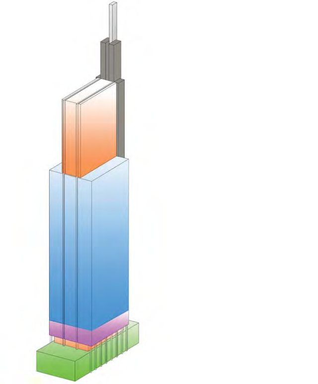 Sectional elevation drawing of the Comcast Innovation and Technology Center