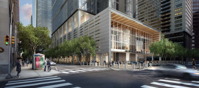 Rendering of 19th Street entrance to hotel and porte cochere