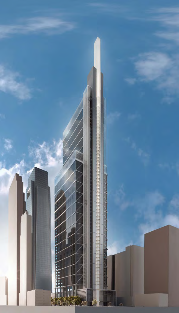 "Rendering of the Comcast Innovation and Technology Center, showing the 19th Street side and the ""lantern"" light blade"