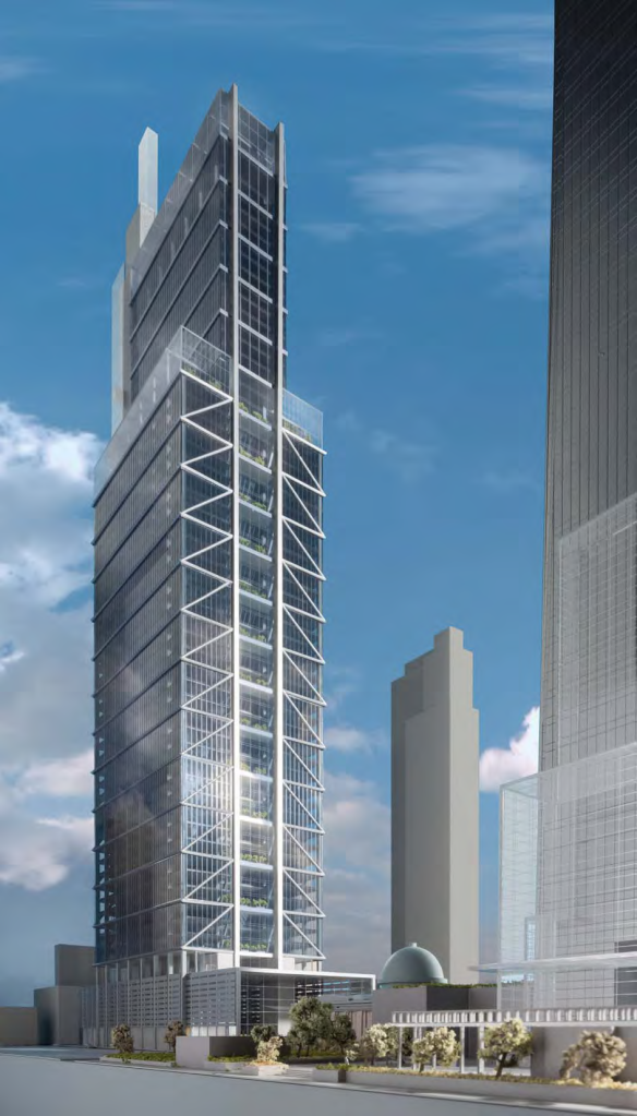 Rendering of the Comcast Innovation and Technology Center, showing the 18th Street side