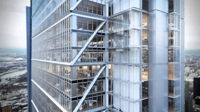 Rendering of the exterior of the Comcast Innovation and Technology Center shows the zigzag pattern, glass elevators, and atria inside