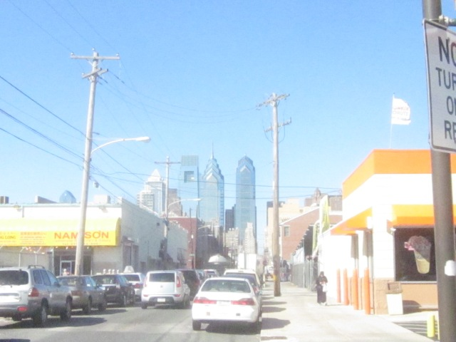 Looking north up 16th Street, towards Center City, from 1601 Washington Avenue