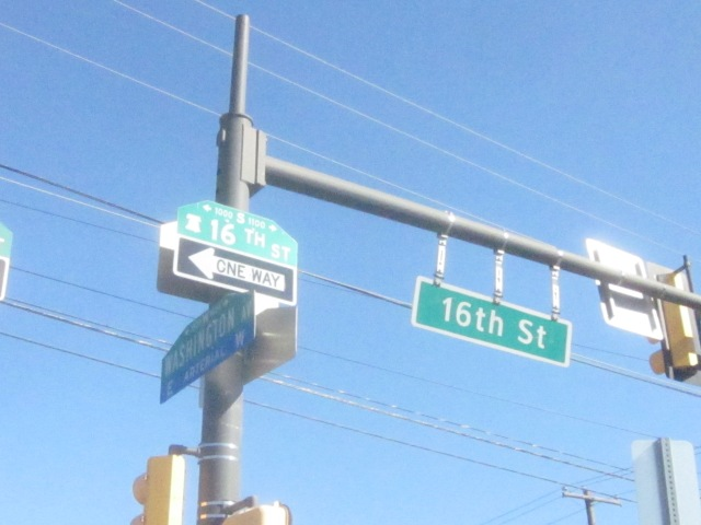 Street signs at 16th Street and Washington Avenue