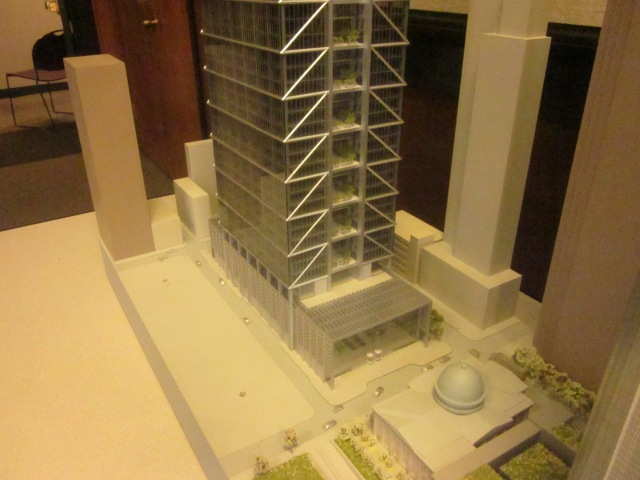 "View of the 18th Street ""winter garden"" and office portion lobby, on the model"