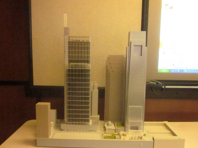 Model of the CITC and the Comcast Center as seen from the south