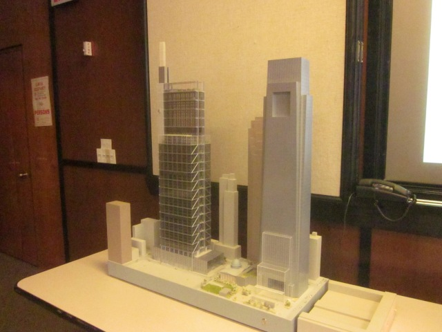 View of the model of the CITC and the Comcast Center from the southeast angle