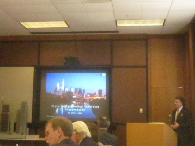 Beginning of the presentation for the Comcast Innovation and Technology Center at the meeting of the Civic Design Review committee on April 9, 2014