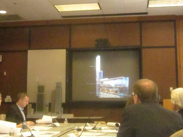 View of a rendering of the lantern light blade and observation deck/hotel lobby at the CDR meeting on April 9th