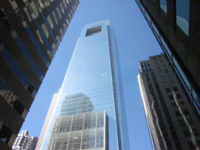 Looking up at the Comcast Center from 17th Street