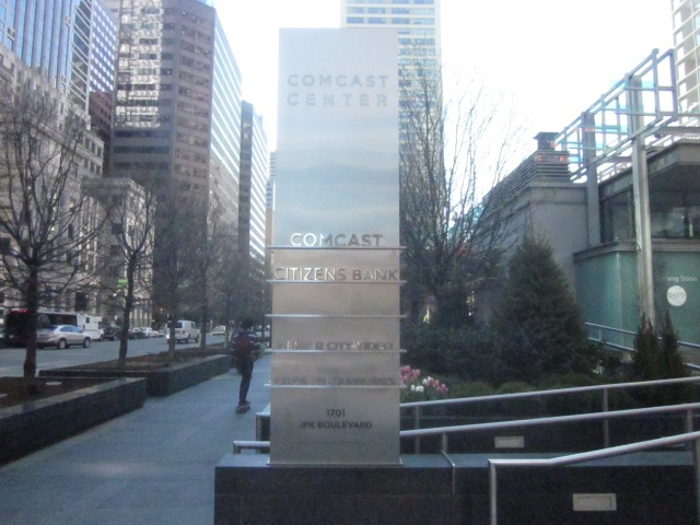 Sign in front of the Comcast Center, at 1701 JFK Boulevard