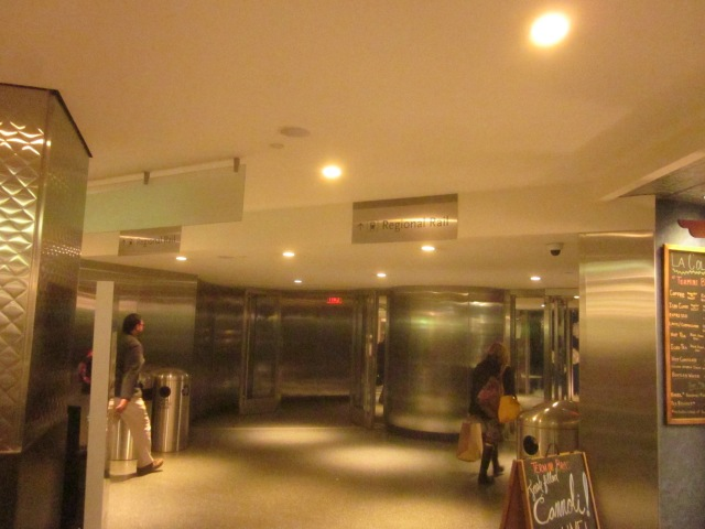 Entrance to Suburban Station and the regional rail, from the food court and concourse of the Comcast Center