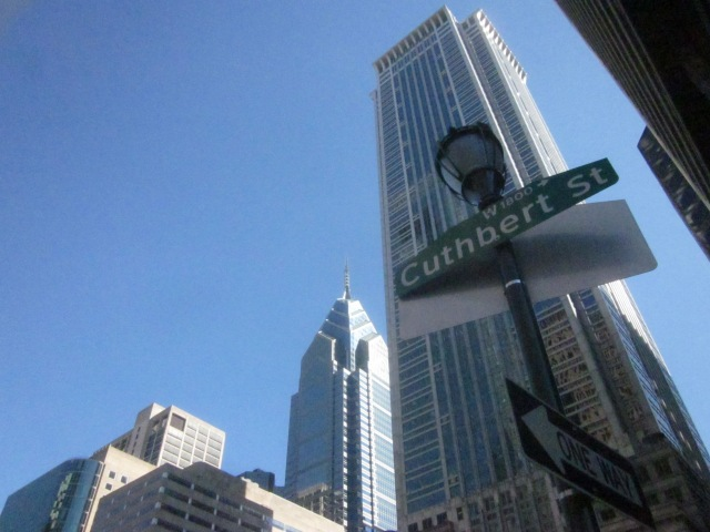 Sign for Cuthbert Street, which runs along the north side of the CITC site, and BNY/Mellon Financial Center in the background