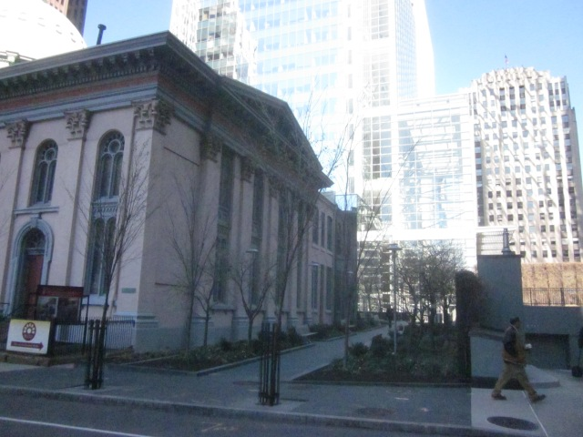 Walkway along south side of Arch Street Presbyterian Church, which was built by Liberty Property Trust, leading to the Comcast Center from 18th Street
