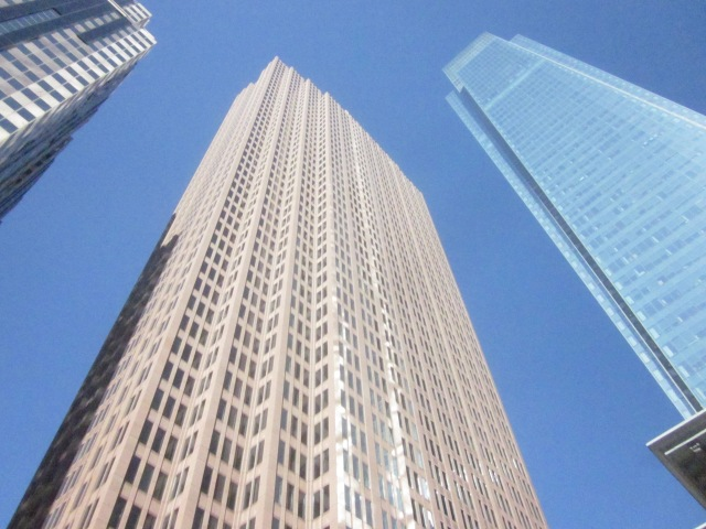 Three Logan Place and Comcast Center, looking up from 18th and Arch Streets