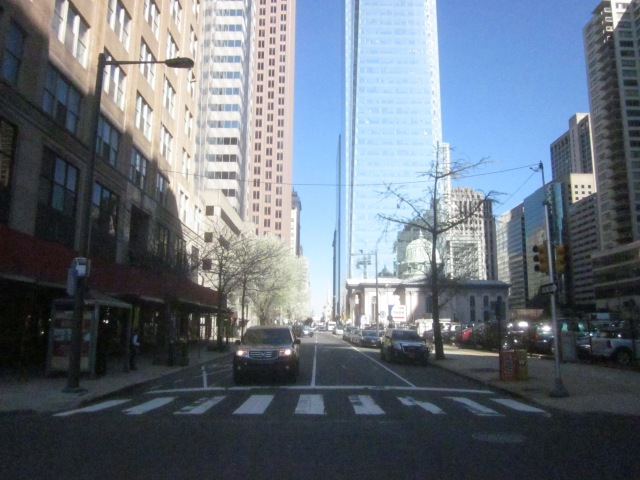 Looking east down Arch Street toward the Comcast Center and the Arch Street Presbyterian Church