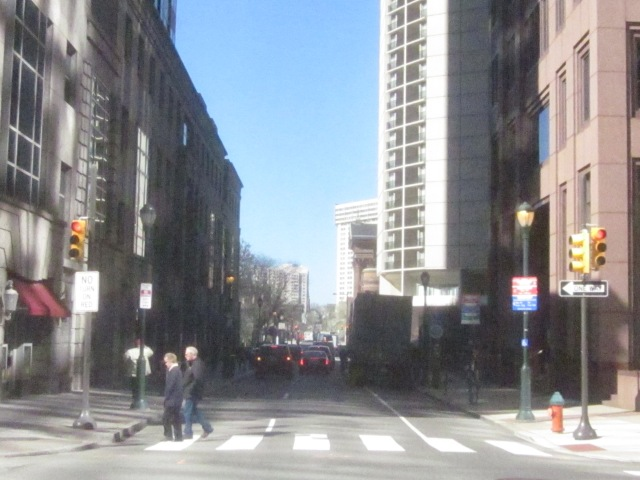 Looking up 18th Street, towards the Parkway, from 18th and Arch Streets