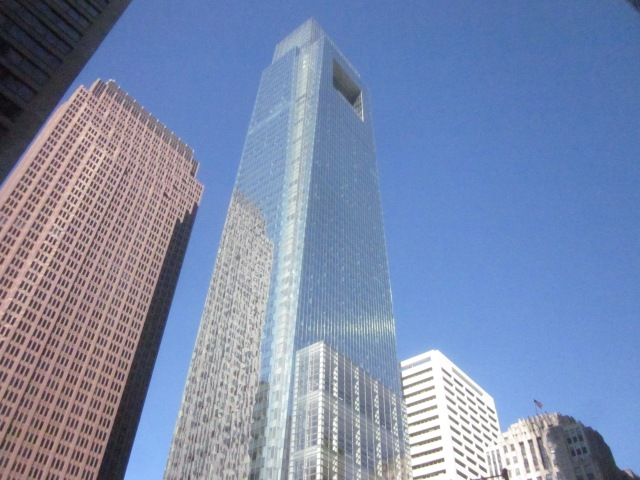 Looking up at the Comcast Center from the corner of 18th Street and JFK Boulevard