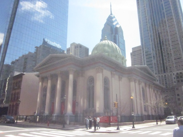 Arch Street Presbyterian Church, on the southeast corner of 18th and Arch Streets, will be imbetween the two Comcast towers