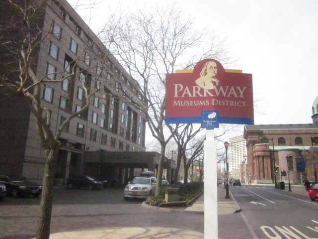 Sign mentioning Parkway Museums District, a couple short blocks from the future CITC, and the current Four Seasons Hotel on the left