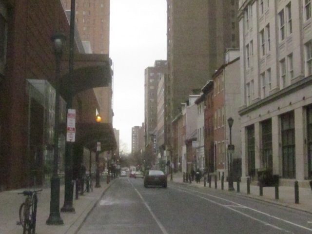 Looking west down Spruce Street into the Rittenhouse neighborhood