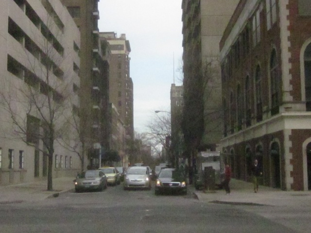 Looking east on Spruce Street into Washington Square West and the Gayborhood