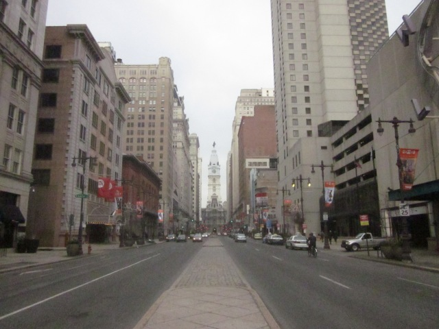 Looking north up Broad Street from Spruce Street