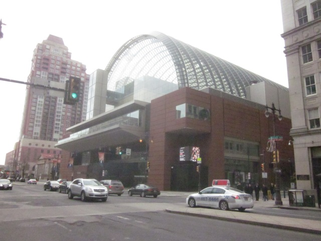Kimmel Center, across Broad Street from the future SLS International Hotel and Residences