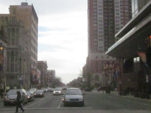 Looking south down Broad Street, from Spruce Street