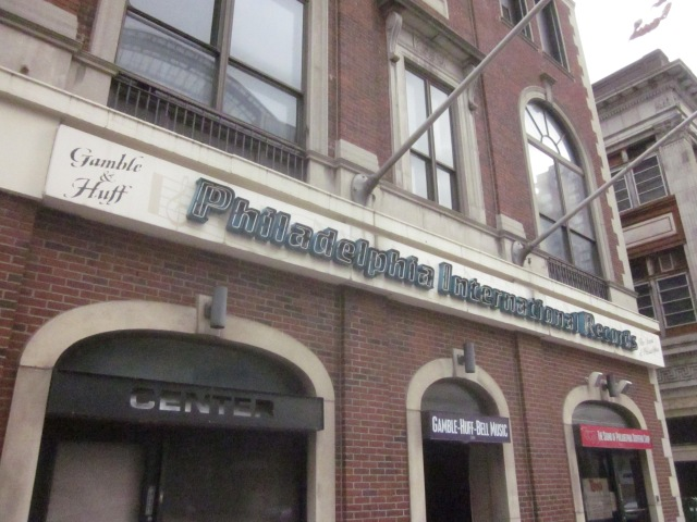 Sign over the entrance and gift shop of Philadelphia International Records