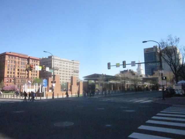 View of the Independence Mall, from 6th and Market Streets, shows Independence Hall, the President's House Memorial, the Liberty Bell Center, and the Hotel Monaco